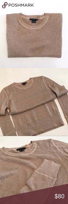 """Theory Perforated Sweater Top New without tags, never worn.   - Sandy beige mesh knit.  - True to size, Theory """"P"""" for XS.  - Silky soft and hugs the body!  Measurements:   - Shoulder to shoulder: 14"""" across - Armpit to armpit: 14"""" across - Armpit to bottom of sleeve: 20"""" down  - Top to bottom: 24""""  - Band across bottom:12.5"""" across  Fabric Content:   - Cotton 50% - Viscose 45% - Cashmere blend 5% Theory Tops"""