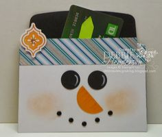 Snowman Gift Card Holder made with Stampin' Up! Envelope Framelits Dies by Debbie Henderson, Debbie's Designs. Directions on my blog