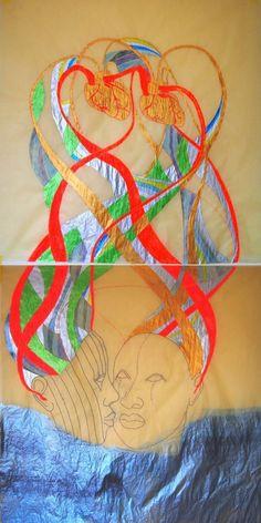 Yemaya y Ochun, 2015 Temat, tusz, grafit na papierze ślad 122 x 61 cm