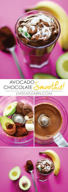 This avocado chocolate smoothie recipe is a simple, healthy, and decadent drink you can whip up for breakfast, snack, or even dessert! It's a healthy treat with only 5 vegan/gluten-free ingredients, what's not to love? // Live Eat Learn