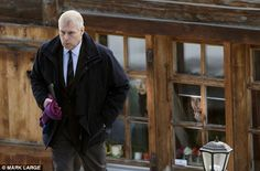 The Duke of York leaves his chalet with his daughter Eugenie and boyfriend Jack Brooksbank after holidaying in Verbier in the Swiss alps