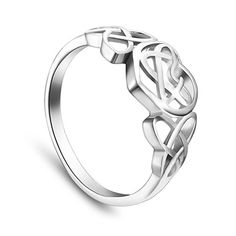 SWEETIEE&reg Fabulous 925 Sterling Silver Finger Ring, with Interlocking Hearts, PlatinumPSize: about 19mm inner diameter, 9mm wide; pPacking size: 53x53x37mm.