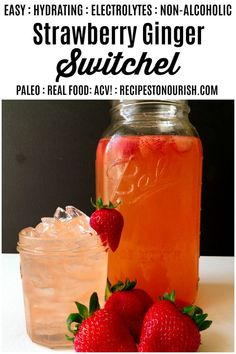 6 Ingredient Easy Strawberry Ginger Switchel - a non alcoholic, naturally sweetened, apple cider vinegar fermented, refreshing drink. Easy Drink Recipes, Apple Recipes, Real Food Recipes, Strawberry Drinks, Strawberry Recipes, Fruit Drinks, Smoothie Drinks, Smoothies, Switchel Drink Recipe