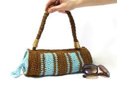 Free Shipping- Brown, blue crochet tote bag- Handmade crochet handbag- Unique handbag- Useful handbag- Pouch- cylinder handbag. $35.00, via Etsy.
