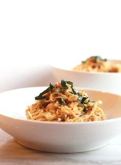 Spaghetti Squash with Vegan Tomato Basil Cream Sauce | Hummusapien