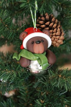 Bear Ornament - Polymer Clay Ornament - Christmas Ornament - Keepsake Ornament by GnomeWoods on Etsy https://www.etsy.com/listing/251855814/bear-ornament-polymer-clay-ornament