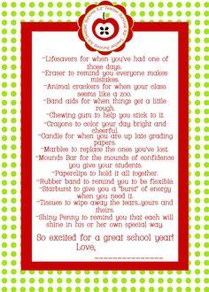 Paperlicious Girls: Free Printable~Teacher Survival Kit