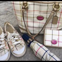 Coach purse and wallet bundle This bundle only includes the purse and wallet. Both in good condition. The last picture shows some damage to the strap area from a piece of tape. Other than that the purse is in great condition. Very cute duo together! Coach Bags
