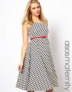 Polka dot dress with red belt. $46