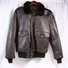 COOPER Vintage 70s G-1 Brown Leather Bomber Shearling Collar Jacket Coat Men 44…