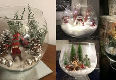 Glass containers with Christmas scenes Christmas Tree Lots, Christmas Lanterns, Christmas Scenes, Silver Christmas, Christmas Wreaths, Christmas Bulbs, Christmas Decorations, Wood Reindeer, Holiday Crafts
