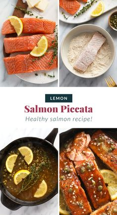 Make this salmon piccata for dinner tonight! It is ready in 30 minutes. You get your omegas, protein and a delicious healthy meal all in one. Salmon And Rice, Lemon Salmon, Healthy Salmon Recipes, Fish Recipes, Keto Recipes, Healthy Weeknight Meals, Healthy Cooking, Salmon Piccata, Fishing