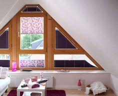 Látkové plisé si hravě poradí také se zastíněním atypicky tvarovaných oken. Cena za vyobrazené provedení 4300 Kč; Climax