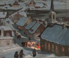 "the-paintrist: "" paintingbox: "" Clarence Gagnon Midnight Mass. Oil on paper laid on wood. x cm "" Clarence Gagnon November 1881 – 5 January was a Canadian painter from. Canadian Painters, Canadian Artists, Nocturne, Clarence Gagnon, Art Gallery Of Ontario, Kitsch, Of Montreal, Winter Art, Winter Scenes"