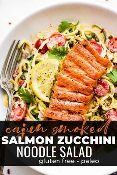 Are you ready to fire up the grill? Yes! Because this sizzling cajun smoked salmon zucchini recipe is to die for! It's protein and nutrient-rich, high in omega 3 healthy meal is oozing with goodness. A definite must try this summer! #salmon #zucchini #glutenfree #paleo #grill Smoked Salmon, Cajun Salmon, Zucchini Noodles Salad, Healthy Recipes, Cooking Recipes, Grilling, Recipe Girl, Gluten Free Dinner, Best Dinner Recipes