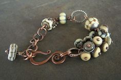 Lampwork and copper by Jewlie at lampwork Etc.