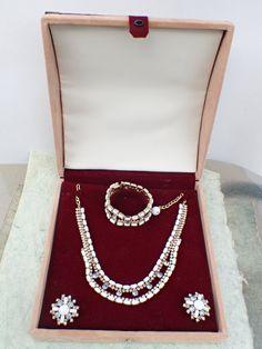 Vintage Signed HOBE necklace bracelet earring set in jewelers display box AB649 by MeyankeeGliterz on Etsy