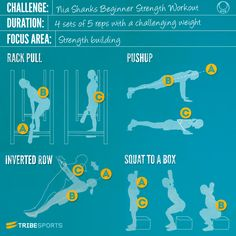 Nia Shanks workout image: Rack Pull, Push up, Inverted Row, Squat to a Box