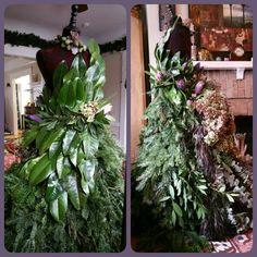 Christmas Tree Dress Form 2015. Douglas fir, cloud pine, myrtle, eucalyptus, hydrangea, protea, magnolia, roses, succulents, rock crystal #greenery #mannequin