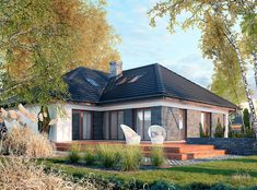 DOM.PL™ - Projekt domu DPS Nebraska CE - DOM DPS1-29 - gotowy koszt budowy Bungalow House Plans, Facade House, Pool Houses, Nebraska, Backyard Landscaping, Landscape Design, Sweet Home, Exterior, House Design