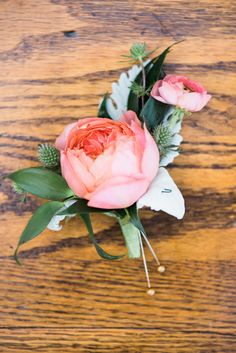Garden Rose Boutonniere magenta garden rose boutonniere - thinking something like this for