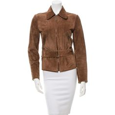 Pre-owned Barbara Bui Suede Biker Jacket ($430) ❤ liked on Polyvore featuring outerwear, jackets, brown, brown suede leather jacket, brown jacket, asymmetrical jacket, asymmetrical biker jacket and brown biker jacket