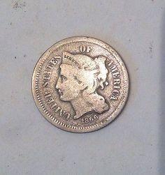 1866 3 Cent Piece Nickel VG