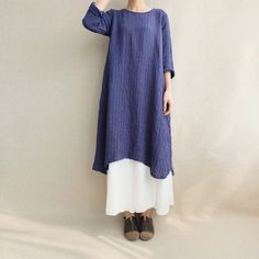 Retro Loose Cotton-Linen irregular Dress