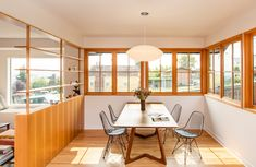 """9 Impressive """"Before & After"""" Remodels to 20th-Century Homes in Seattle - Dwell Sheep House, Small Basement Bathroom, Seattle Homes, West Seattle, Minimal Home, Wood Trim, Mid Century House, Architecture Design, House Design"""