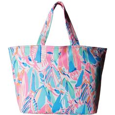 Lilly Pulitzer Palm Beach Tote (Multi Out To Sea) Tote Handbags ($68) ❤ liked on Polyvore featuring bags, handbags, tote bags, beach tote bags, oversized beach bags, oversized beach tote, beach bag and white purse