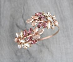 Rose gold Bracelet, Blush crystal bracelet, Bridal jewelry, Bridal bracelet, Leaf cluster, Cuff bracelet, Swarovski bracelet Bangle bracelet by CoutureBridalStudios on Etsy