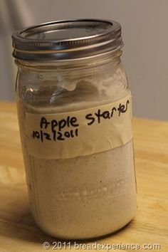Sourdough Apple starter - using, of course, pesticide free, organic, unsprayed apples. Otherwise this starter won't work. Sourdough Bread Starter, Yeast Starter, Sourdough Recipes, Amish Recipes, Bread Recipes, Cooking Recipes, Sourdough Biscuits, Starter Recipes, Gf Recipes