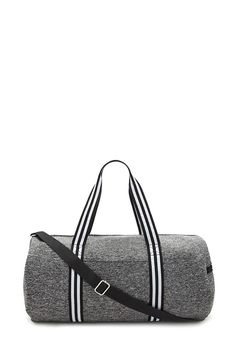 An athletic gym duffle bag featuring a marled stretch knit fabric, striped shoulder straps, a detachable adjustable crossbody strap, a zipper top, two side zipper pockets, and a front slip pocket.