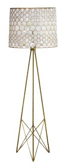 Antiqued Gold Base & Frame w/Capiz Shell Shade