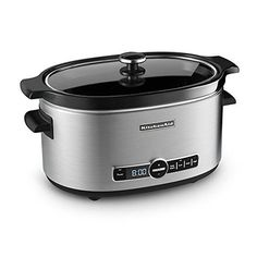 The KitchenAid 6-Quart Slow Cooker with solid glass lid has the capacity for everyday meals or entertaining. With the 24-hour programmability on the digital display, it's easy to start the slow cooker when you leave for work and return to a warm, deliciou ...