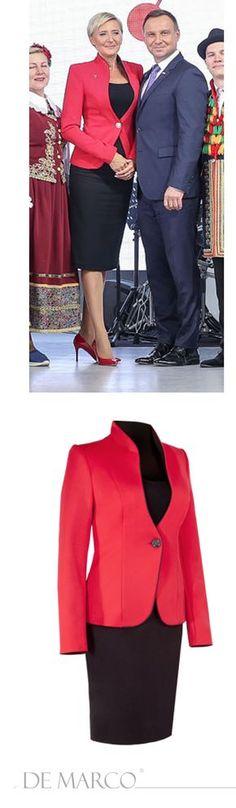 86e6bcbbb1 Moda damska. Kostium biznesowy w którym Pierwsza Dama Agata Duda  zaprezentowała się w Kazachstanie. Garsonki wizytowe szyte na miarę w De  Marco.