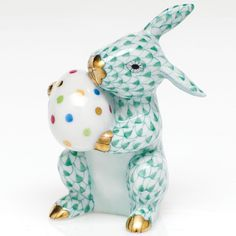 "Handmade handpainted small  ""Herend"" porcelain bunny figurine, from Hungary."