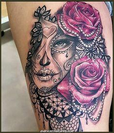 Day of the dead tattoo – tattoo pattern - diy tattoo images Diy Tattoo, Tattoo Tod, Tattoo Ideas, Feminine Skull Tattoos, Simplistic Tattoos, Sleeve Tattoos For Women, Tattoos For Guys, Tattoo Women, Leg Tattoos