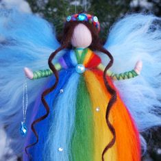 Rainbow Fairy Rainbow Fairy felt Needle felted Fairy Fairy Rainbow Fairies, Felt Fairy, Waldorf Dolls, Fairy Dolls, Needle Felting, Angels, Wool, Ornaments, How To Make