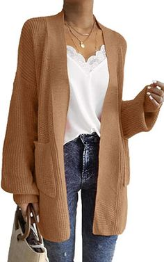 New Coffee Pockets V-neck Long Sleeve Oversize Cardigan Sweater Tan Cardigan Outfit, Sweater Cardigan, Jumper, Young Fashion, Fall Fashion, Ladies Fashion, Oversized Cardigan, Oversized Sweaters, Blazer Fashion