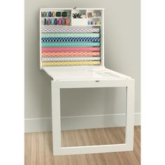 Fold Down Gift Wrap Station by We-r Memory Keepers - Wrapping station option 6 - this one also provides a table Wrapping Paper Station, Gift Wrap Storage, Fold Down Table, Vinyl Storage, Storage Room, We R Memory Keepers, American Crafts, Room Organization, Getting Organized