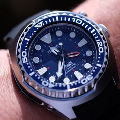 That outrageously cool Seiko Prospex PADI Kinetic GMT with blue dial.