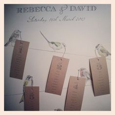 Seriously, one of the best wedding table plans I have ever seen! Birds sitting on a wire. Guest names on luggage labels being held by the birds in their beaks. (Gemma Milly - http://www.gemmamilly.com)