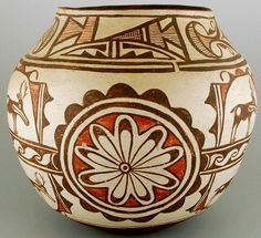 Native American Pottery, Poly chrome Pottery Jar, Circa 1920, With Deer and Rosettes, #678