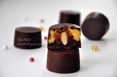 Sweet and not Sweet: Шоколадные конфеты с тыквенным кремом, мандариновым мармеладом и миндалем