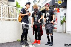 Harajuku Guys w/ Bandanas, Crosses & Sneakers in L.A.T.H.C., Givenchy, Pyrex & MCM | most left: http://twitter.com/13_hayato, most right: http://twitter.com/kokiichikawa