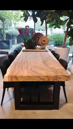 37 Brilliant Wood Dining Table Design Ideas That Trend Today 37 Brilliant Wood Dining Table Design Ideas That Trend Today Diy Dining Table, Dining Table Design, Solid Wood Dining Table, Slab Table, Table Legs, Esstisch Design, Home Furniture, Sweet Home, Room Decor