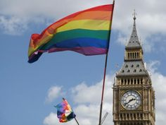 March 29, 2014  -  The British government has ordered rainbow flags flown over two prominent government buildings to celebrate the country's first same-sex weddings today.