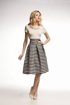 Amalfi Striped Midi Skirt / nautical stripes / fit by RUMOURLONDON