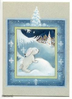 Kaarina Toivanen (my collection) - pioni pionia - Picasa Web Albums Christmas Clipart, Vintage Christmas Cards, Christmas Crafts, Christmas Illustration, Cute Illustration, Naive, Funny Bunnies, Kawaii, My Collection
